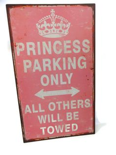 PINK PRINCESS PARKING ONLY OUTDOOR METAL SIGN  LADY DAUGHTER WIFE DRIVER NEW