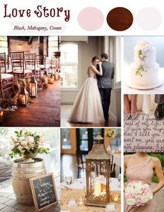 Love Story Wedding Theme: Blush, Mahogany, Cream. Awesome detailed blog post on how to create this theme! Lots of great photos and ideas! Lanterns, wine barrels, romantic candles, twinkle lights, books, taupe mauve.