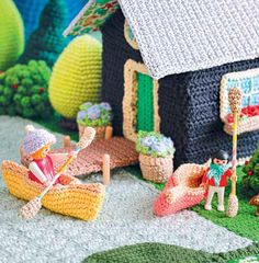 Lets Go Camping Crochet Patterns - Lakeside Cabin Canoe Oars Dock Flowers