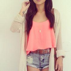 Pink crop top, cream cardigan, acid washed shirts, cute bag