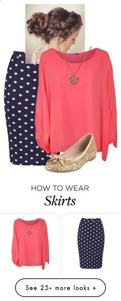 Polka Dot skirt,Coral.Gold by rae1997 on Polyvore featuring WearAll, Kate Spade, womens clothing, womens fashion, women, female, woman, misses and juniors Womens Shoes - amzn.to/2gvL0Lo