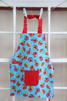 Elmo Smock, Child Apron, Elmo Apron, Preschool Smock, Elmo Toddler Gift, Toddler Party Favor, Elmo Gift