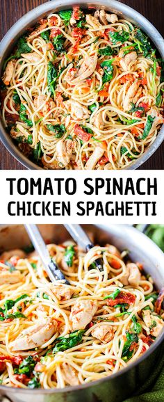 TOMATO SPINACH CHICKEN SPAGHETTI - Spaghetti is tossed in a fresh and flavorful sauce with pieces of juicy chicken. Simple and yummy meal you can make at home for your family! Check us out for more healthy homemade cooking and easy dinner Creamy Pasta Recipes, Spinach Recipes, Chicken Recipes, Healthy Recipes, Cheap Recipes, Fast Recipes, Zoodle Recipes, Chicken Meals, Yummy Recipes