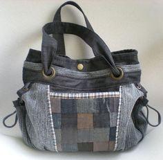 """""""Spatz"""" Jeans-Patchwork-Tasche mit  viel Stauraum  von Gasani  auf DaWanda.com"""