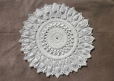 White crochet doily 13 inch Round crochet lace doily Textured doily Crochet home decor Table topper Pineapple doily Gift idea Centrepiece - pinned by pin4etsy.com