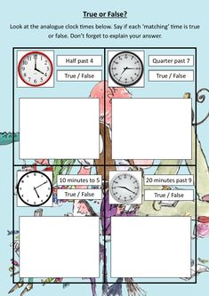 Roald Dahl Time Sheet 2 Roald Dahl Activities, The Twits, Numeracy, Primary School, Maths, Mathematics, Shed, Teaching, Education