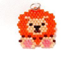 Brick Stitch Lion Charm, Beaded Jungle Animal, Handmade Craft Supply