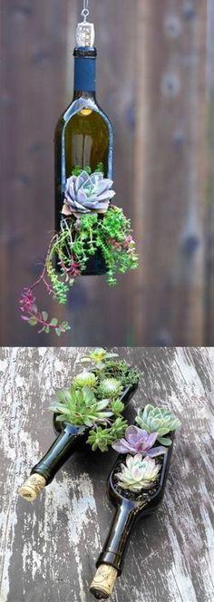 Succulent Wine Bottle Planters and reclaimed wood succulent planter http://redoityourselfinspirations.blogspot.com/2016/05/farmhouse-cutting-board-planter.html #DIYHomeDecorWineBottles