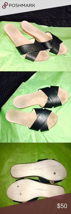 Enzo Angiolini Faux Leather Sandals Worn Once 🌷 Enzo Angiolini Faux Leather Sandals. In Nearly Perfect Condition- small spots on bottom of soles. Worn Once. Super clean - has a snakeskin texture on Upper part of shoe. 🌷Cork and rubber sole. From  Nordstrom's Enzo Angiolini Shoes Sandals