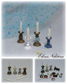 Minyatürler candle holders for minis Z Fairy Furniture, Barbie Furniture, Miniature Furniture, French Furniture, Dollhouse Furniture, Miniature Crafts, Miniature Houses, Miniature Dolls, Miniature Fairies