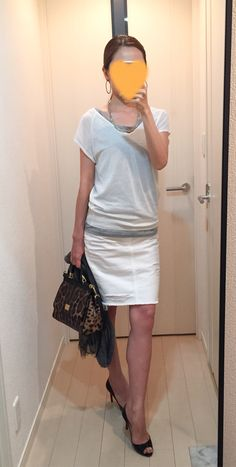 Top: Uniqlo, Tank: Supplement to a mag Denim skirt: AG, Bag: Dolce&Gabbana, Heels: Christian Louboutin