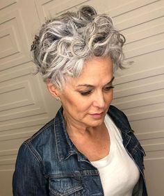 Grey Curly Hair, Short Hair Updo, Short Hair With Bangs, Curly Hair Cuts, Curly Hair Styles, Thin Hair, Short Curls, Hair Bangs, Curly Bob