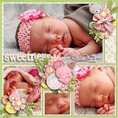 """This is a really GOOD digital layout! Why? Because the embellishments don't overwhelm to photos. If you have to study digital pages like a """"where's Waldo"""" book to find the photos.....they are too busy! Less is more ! #babyscrapbooks"""