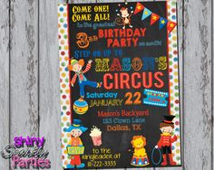 Printable CIRCUS BIRTHDAY INVITATION - Circus Party Invite - Carnival Birthday Invitation - Clown Invitation - Circus Invitation
