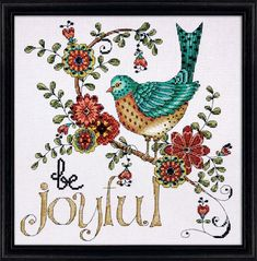Design Works Be Joyful - Counted Cross Stitch Kit. Cross stitch kit featuring a bird and the phrase Be Joyful. This Cross Stitch Kit comes complete with 14 Coun