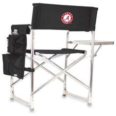Picnic Time  Alabama Crimson Tide Sports Chair (135 CAD) ❤ liked on Polyvore featuring home, outdoors, patio furniture, outdoor chairs, black, outdoor folding chairs, outdoor padded folding chairs, folding end table, folding chairs and black chairside table