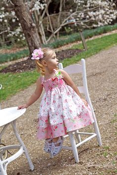Custom easter birthday party flower girl twirl dress - Tea Party Little Bird - French European children's boutique clothes $95