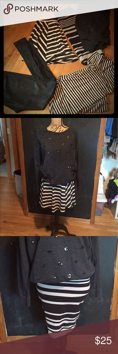 5 item BUNDLE!! Blk/cream Cleaning out my posh closet!!  I have 5 items in this bundle1) forever 21 hi/low dress   L 2)mosimo flared mini   M 3) old navy striped tube skirt   S (will fit a 10) 4) d navy sequence sweatshirt   L 5) division / H&M pleather leggings!!  All of these items have been worn lightly!!  The mosimo skirt maybe never.  Thanks!!! Skirts