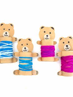 This adorable Cardboard Roll Yarn Wrapped Bears Craft is made with cardboard rolls, brown cardstock, and all wrapped up with multicolor blue/purple yarn. Animal Crafts For Kids, Fall Crafts For Kids, Toddler Crafts, Crafts To Make, Fun Crafts, Toilet Roll Craft, Toilet Paper Roll Crafts, Bear Crafts, Horse Crafts