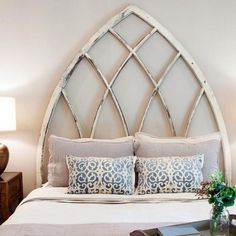 We love this unique headboard idea! Great boat inspired piece would go great in a lake home. #lakehousedecor #PatsyW