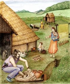 An Iron Age rural settlement with weaving in the background and a ceramics kiln in the foreground by S.E. James