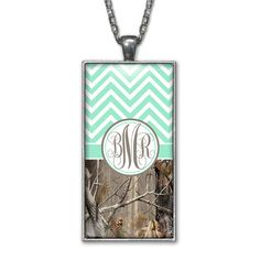 Mint Chevron Camo Monogram Pendant Charm Necklace Personalized Country Girl Silver Jewelry