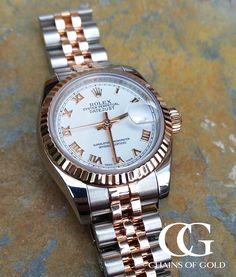 Got to love this Ladies Rolex Datejust in Rose Gold & steel with a lush whi. Got to love this Ladies Rolex Datejust in Rose Gold & steel with a lush white dial, adorned with white gold Rom Best Watches For Men, Luxury Watches For Men, Cool Watches, Popular Watches, Modern Watches, Elegant Watches, Casual Watches, Beautiful Watches, Rolex Women