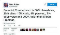 thanks for the stats, Britain - Benedict Cumberbatch