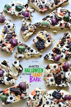 Monster Halloween Candy Bark. Dairy-Free / Gluten-Free / Kid-Friendly / No Bake / Nut Free / Vegan.
