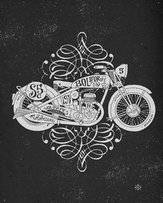 Great hand lettering motorcycle illustrations