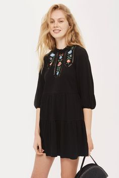 Embroidered Trim Smock Dress