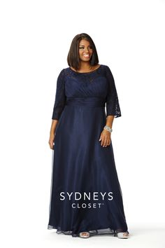 Elegant plus size formal dress 3/4 sleeves