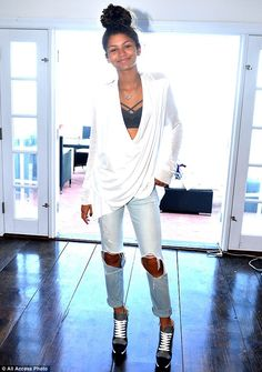 So fresh! Zendaya Coleman is pictured here at a photoshoot for POM Pomegranate juice, deck...
