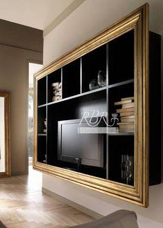 Libreria porta tv in legno massiccio di frassino, su richiesta cornice in foglia oro/argento, ferramenta ottenuta mediante fusione di ottone in terra. Dimensioni e