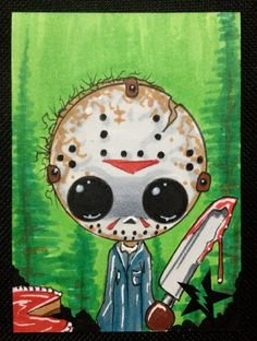Sugar Fueled Jason Voorhees Friday the 13th Horror lowbrow creepy cute big eye ACEO mini print on Etsy, $4.00
