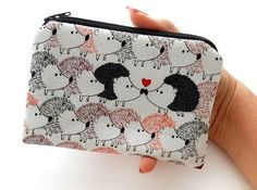 Hedgehog Love Little Zipper Pouch Coin Purse ECO Friendly Padded by JPATPURSES