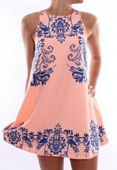 Ethnic Style Round Neck Sleeveless Print Shift Dress For Women #Bohemian #Fashion #Pink #Floral #Dress
