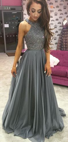 Long Prom Dresses,Beaded  Top Dark Grey Chiffon Prom Dresses,Cheap Formal Dresses,Pageant Dresses,#sheergirl #prom #pageant #chiffon