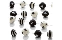 Adorned with black-and-white felt pom-poms, this string of garland trims the tree or mantel with plenty of spirit. Its neutral palette makes it a stylish decorating option long after the tree has come down. Paris Bedroom, Neutral Palette, Garland, Stud Earrings, Wool, Black And White, Black N White, Stud Earring, Black White