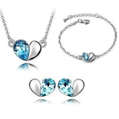 Silver & Sapphire Heart Jewelry Set