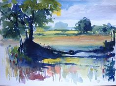 Original Watercolour Painting - Summer Landscape - Signed Annabel Burton