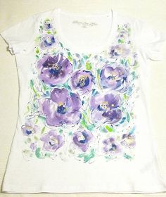 Maľované tričko - fialové kvety