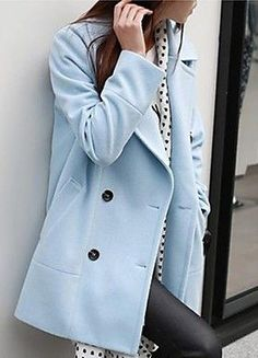 Pale Blue Wool Coat