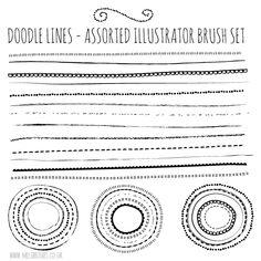 Free Illustrator Brushes – Natural Sketch Doodle Lines set