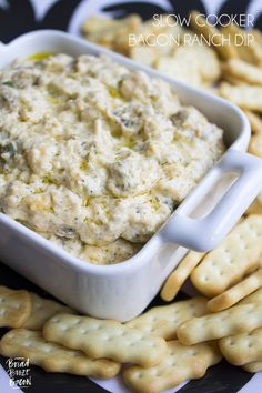 Slow Cooker Bacon Ranch Dip is my go to dip for game day. Super cheesy and…
