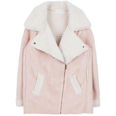 Off-Center Zip-Up Jacket (1 485 UAH) ❤ liked on Polyvore featuring outerwear, jackets, bunny jacket, pocket jacket, pink jacket, collar jacket and long sleeve jacket