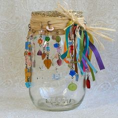 Beaded Mason Jar Candle Holder Luminary Bohemian Hippie Patio Backyard Deck Summer Party Hostess Gift - Decoration Home Mason Jar Candle Holders, Mason Jar Candles, Mason Jar Crafts, Candle Wax, Hippie Bohemian, Bohemian Crafts, Hippie Crafts, Bohemian Style, Bohemian Decor