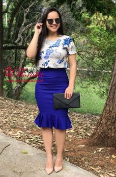Modest Fashion, Fashion Outfits, Womens Fashion, Color Combinations For Clothes, Fiesta Outfit, Blue Party Dress, Pencil Skirt Outfits, Dress Clothes For Women, Professional Outfits