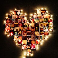 hang photos in heart and outline with christmas lights