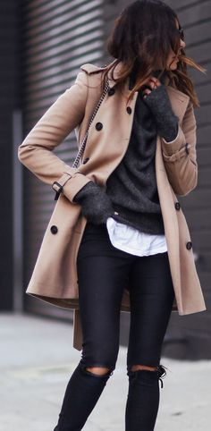 Camel mac style coat worn with a sweater & white shirt and jeans the ideal winter outfit.